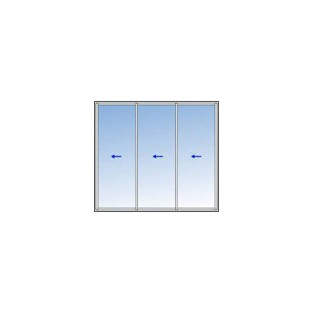 Baie coulissante aluminium 3 vantaux 2 rails