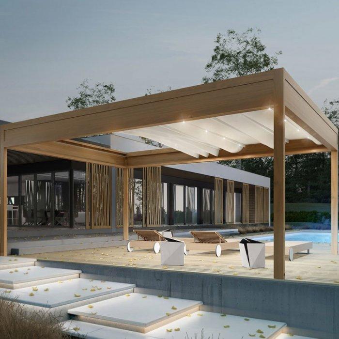 pergola toit retractable imitation bois pas chère