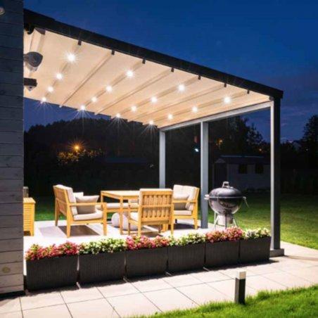 Continuez vos fêtes avec la pergola adossée à toit retractable au meilleur prix !