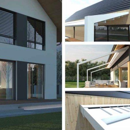 Pergola design adossée sur mesure à toit retractable pas chère.