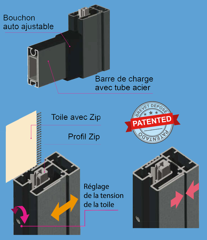 Store zip toile vertical pergola Soltis ZIP
