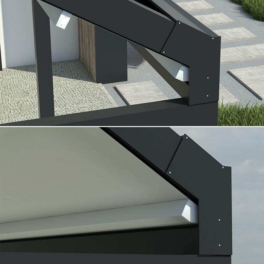 Voici l'angle de votre future pergola LUMIERE à toit rétractable.