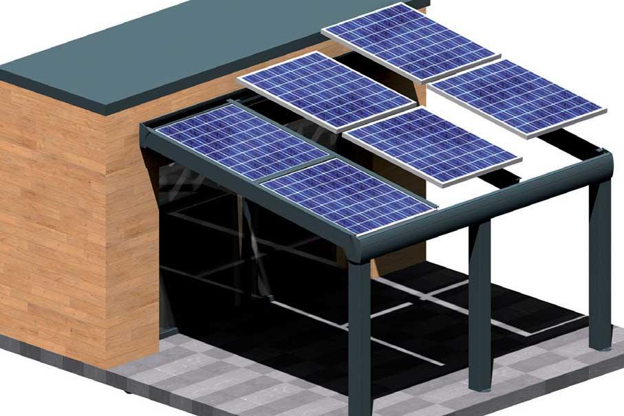 Venez acheter une pergola solaire adossée en kit au meilleur prix, directement d'usine de fabrication française